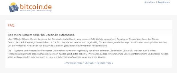 Bitcoin.de FAQ Sicherheit