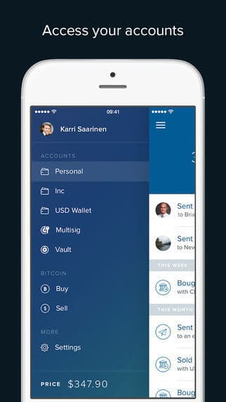 Coinbase iOS App Wallet für Bitcoin, Ether und Litecoin