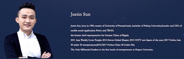 Justin Sun - Gründer von Tron