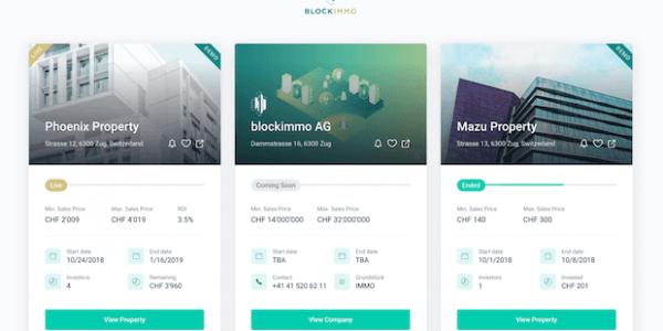 blockimmo Plattform für Immobilien