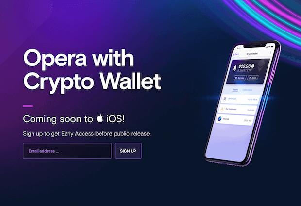Opera Touch - Kryptobrowser für iOS