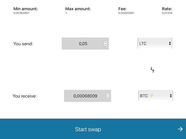 Boltz Exchange Swap Abbildung