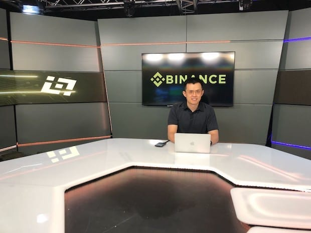 Changpeng Zhao at the chiliZ studio in Malta