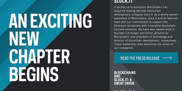 Blockchains LLC übernimmt Slock.it @BlockchainsLLC
