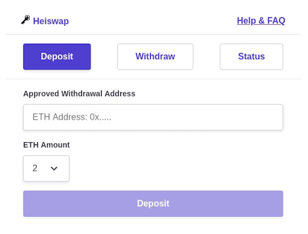 Heiswap - anonyme Ethereum Zahlungen