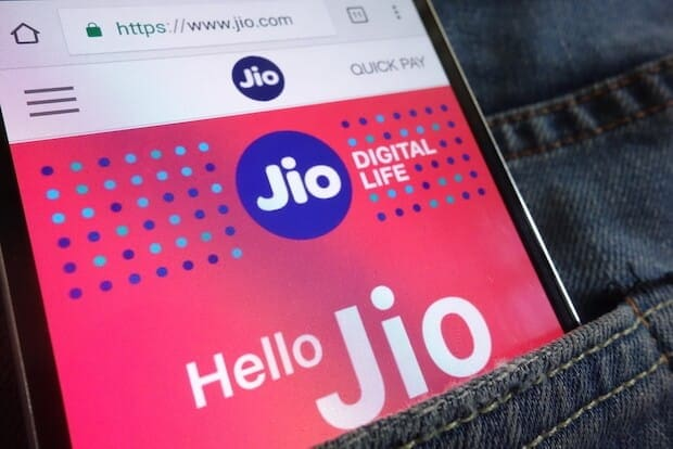 Reliance Jio Webseite