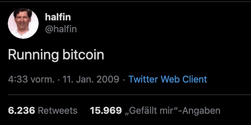 Halfen bestätigt erste Transaktion mit Bitcoin