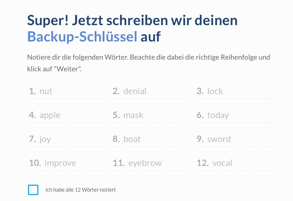 Schritt 2: Backup Keys erstellen und notieren