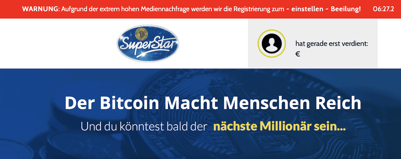 Bitcoin Superstar Landingpage
