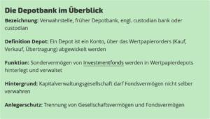 Depotbank Funktion und Abgrenzung