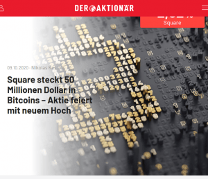 Square steckt 50 Millionen Dollar in Bitcoins, Der Aktionär
