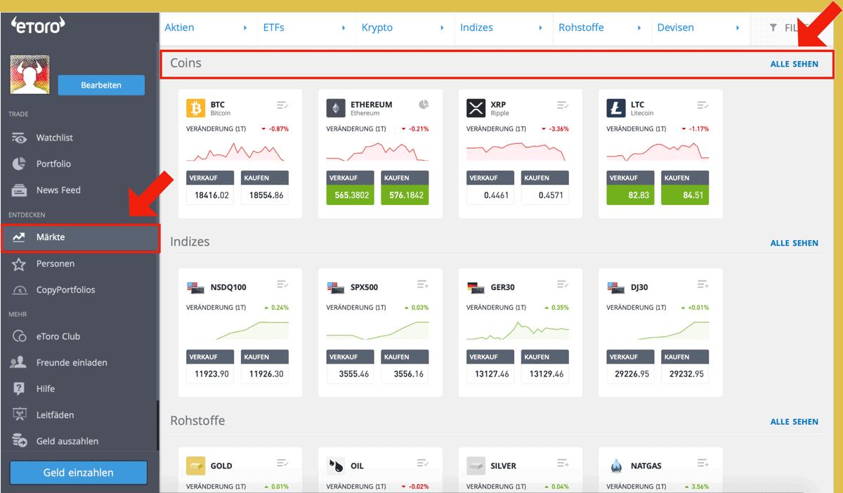 Ethereum kaufen eToro Märkte