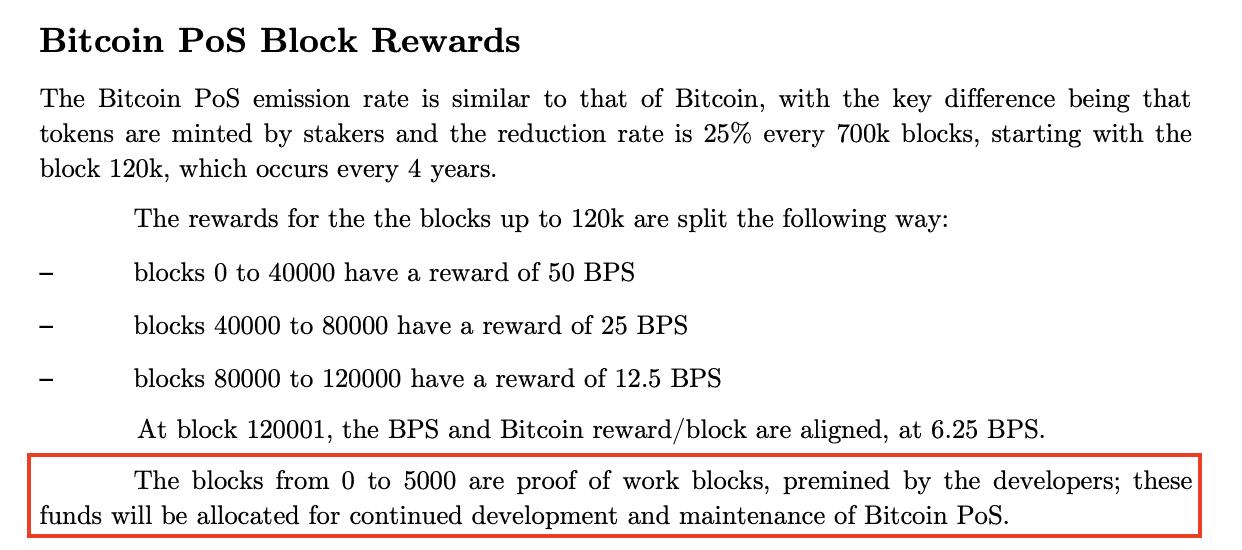 Premining von BPS im Whitepaper