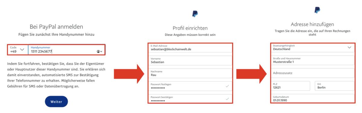 Dateneingabe bei PayPal