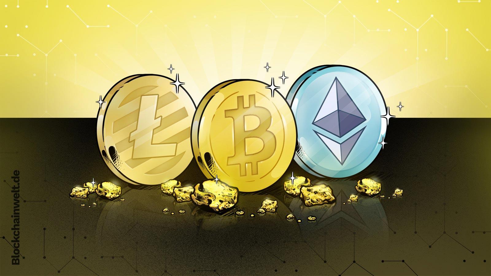 Illustration von einer Bitcoin, Ethereum und Litecoin Münze.