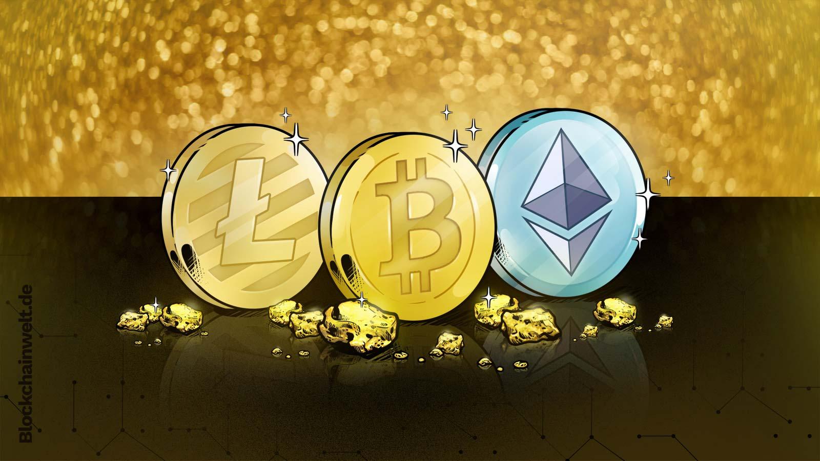 Bitcoin, Ethereum und Litecoin
