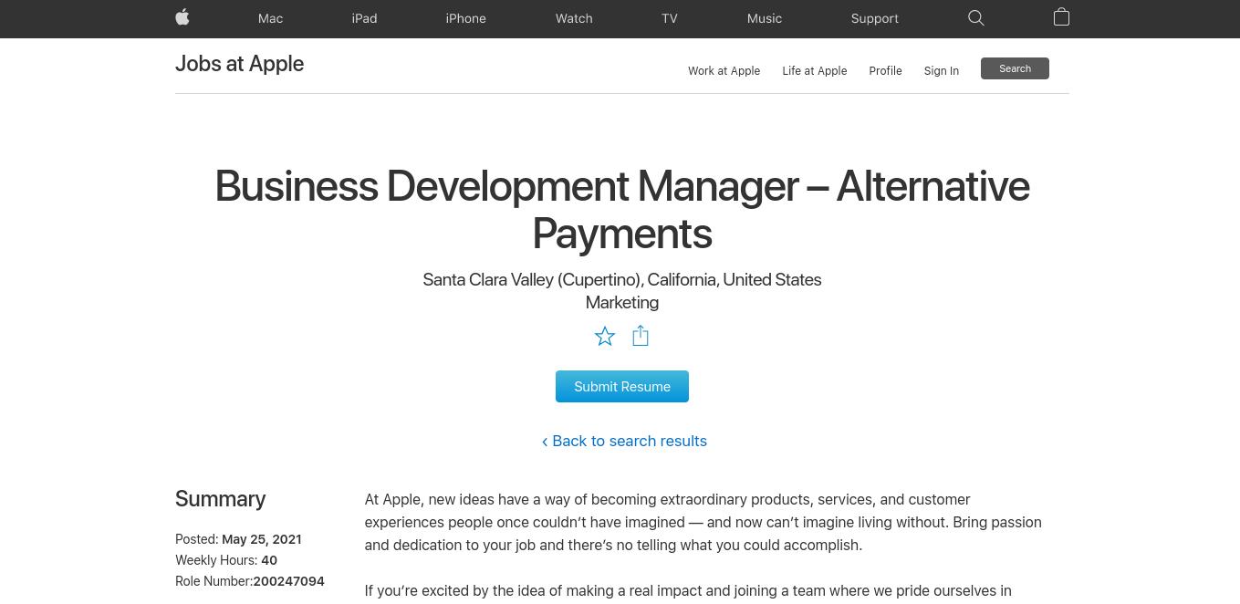 Stellenausschreibung Business Development Manager für alternative Zahlungsmethoden