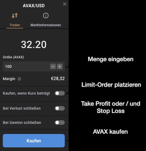 AVAX kaufen Order