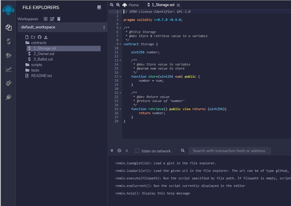 Remix ermöglicht die umfassende Entwicklung von Smart Contracts mit Solidity