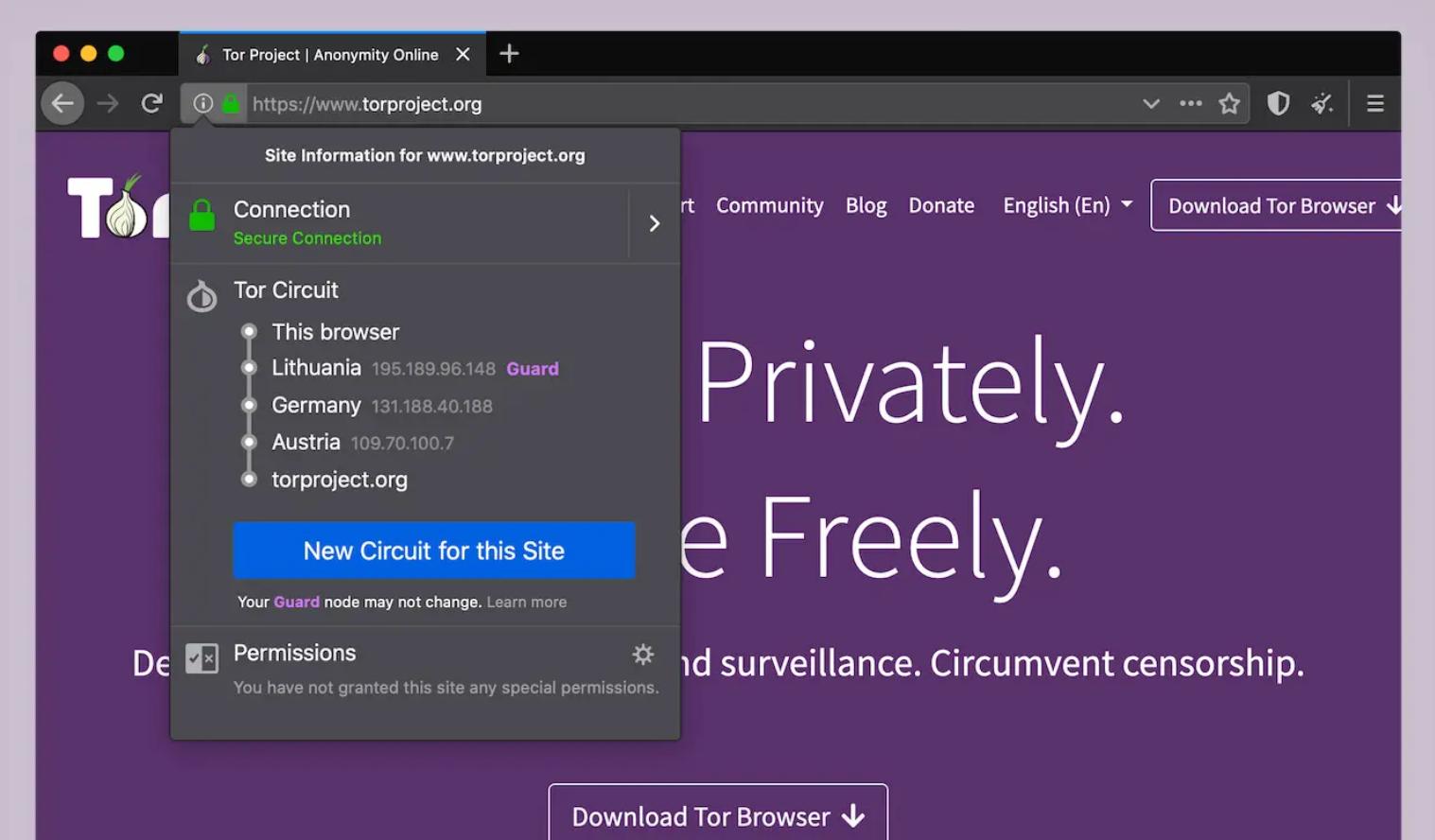 Der Tor Browser hilft beim Navigieren im Tor-Netzwerk