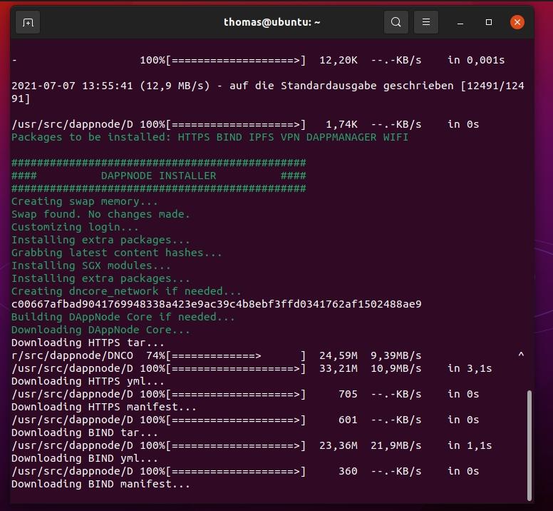 Installieren von DAppNode als Ethereum-Knoten