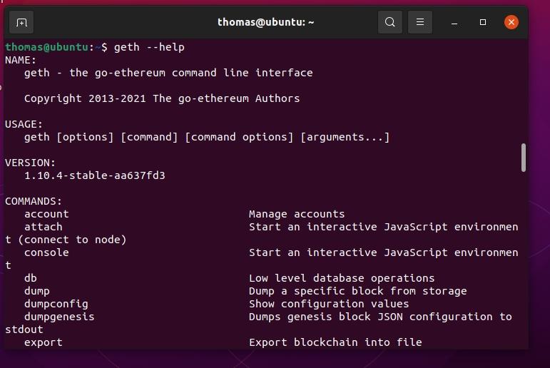 Anzeigen des Geth-Hilfe auf einem Linux-Computer