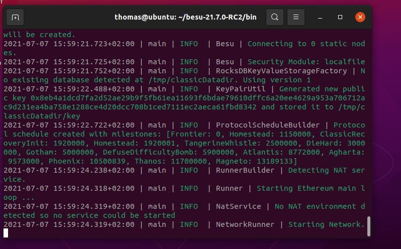 Erfolgreicher Verbindungsaufbau von Hyperledger Besu zur Ethereum-Blockchain