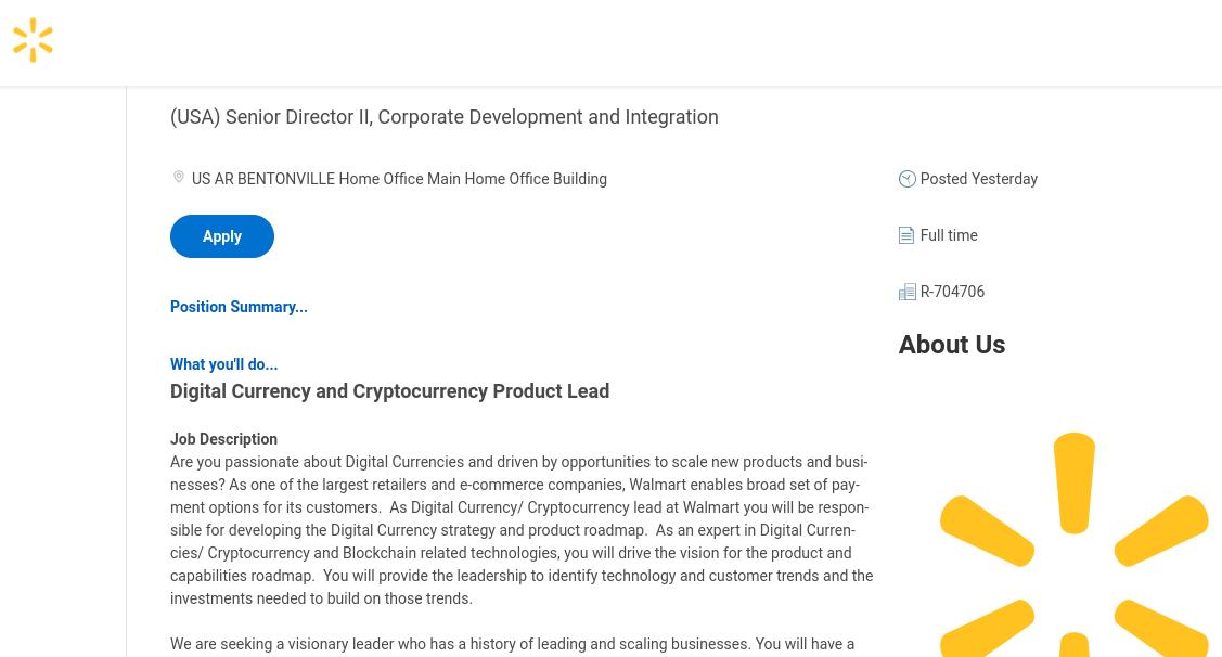 Stellenanzeige Walmart Leiter für digitale Währungsprodukte