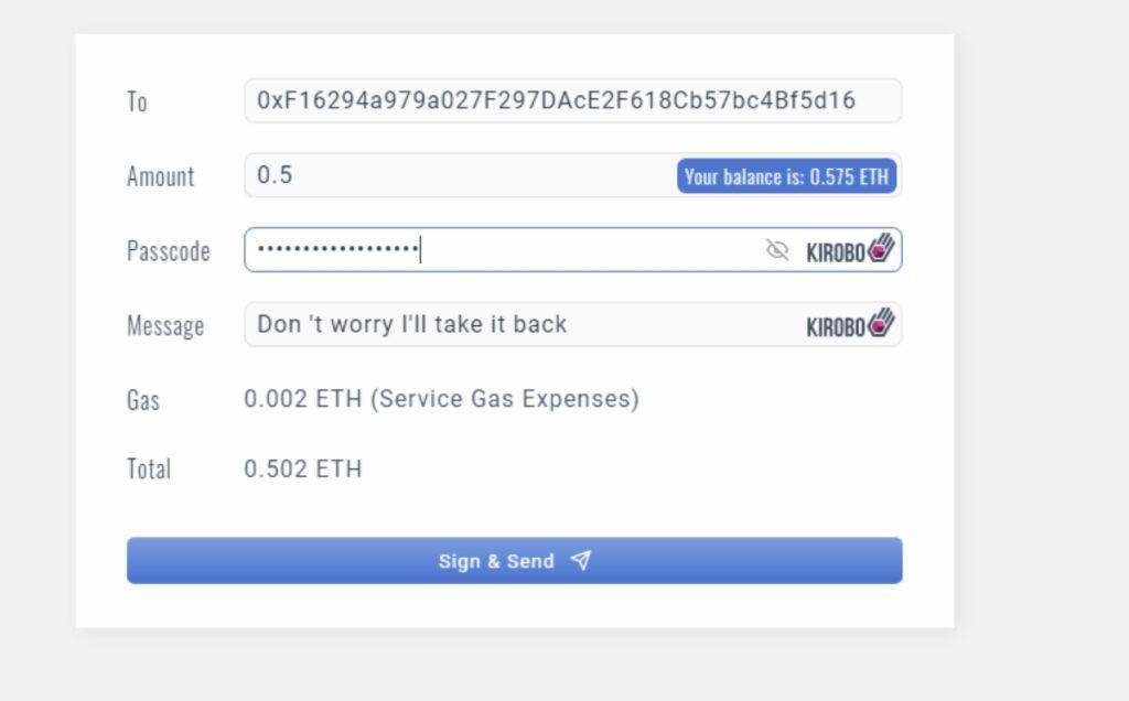 Versenden von Ether und Bitcoin, mit der Möglichkeit die Übertragung wieder rückgängig zu machen.