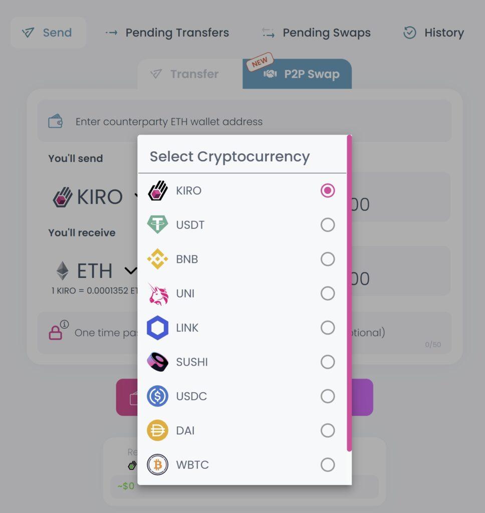 Auswählen der Kryptowährungen für sicheren Token Swap mit Kirobo.
