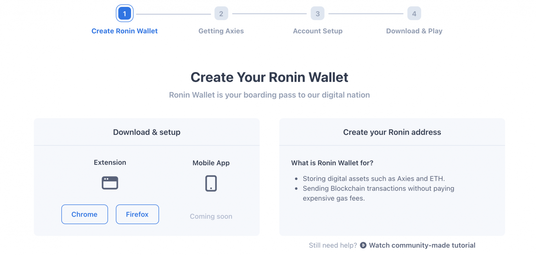 Schritt 1: Das Ronin Wallet erstellen