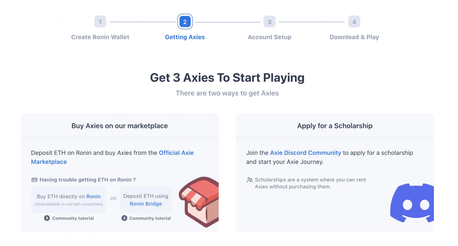 Die ersten drei Axies zum Spielstart kaufen