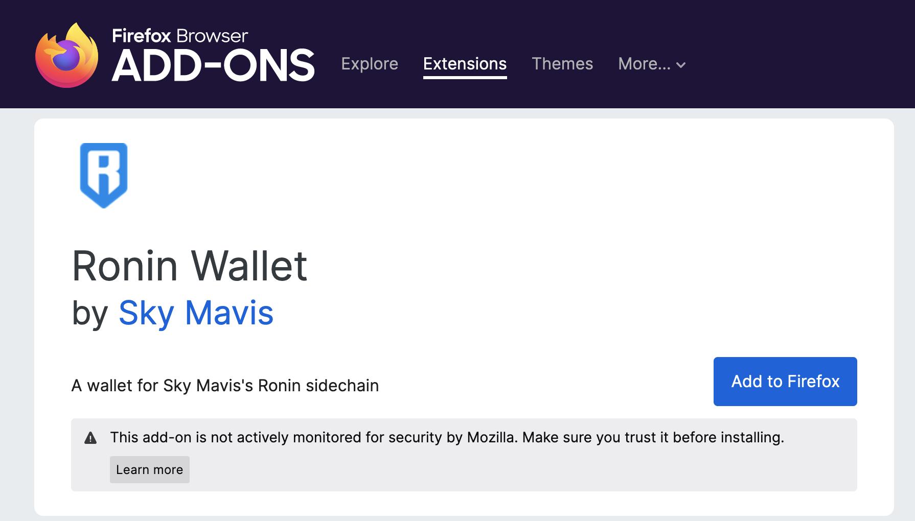 Ronin Wallet Erweiterung Beispiel Firefox